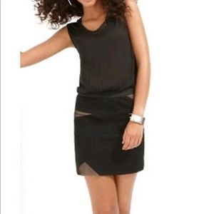 BCBG Black knit jersey contrast mini dress